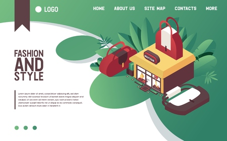 Illustration for Vector concept illustration with woman bags and clothes boutique building in isometric style. Fashion landing page good for web site design in bright gradients with large purses and greenery. - Royalty Free Image