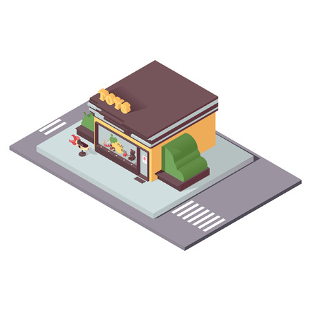 Illustration for Isolated on white kids toys store in isometric style. 3d concept illustration for small business and department store. - Royalty Free Image