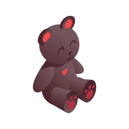 Illustration for Cute isometric teddy bear drawn with vivid brown gradients, with pink heart on breast. 3d toy for kids playing store. - Royalty Free Image
