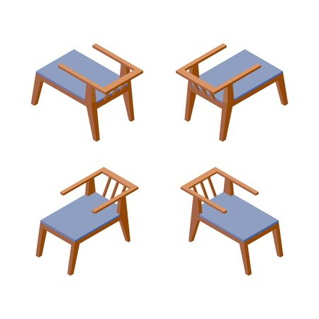 Illustration for Isolated on white background isometric collection of comfortable chairs, good for hotel or spa resort in blue color. Furniture 3d set. - Royalty Free Image
