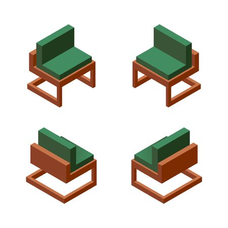 Illustration for Vector collection with one comfortable chair in various foreshortening. Green fabric, wooden base. Isolated on white background collection. - Royalty Free Image