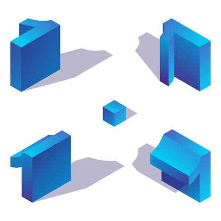 Illustration for Isometric number 1 in various foreshortening views. One digit decorated with shadow and blue gradients, isolated on white background. 3d collection. - Royalty Free Image