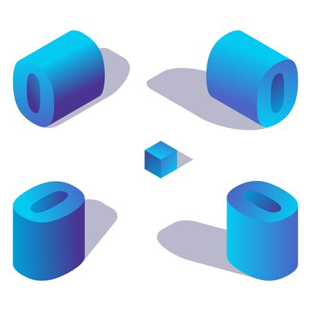Illustration for Isometric number 0 or letter o in blue color with shadows in various views. - Royalty Free Image