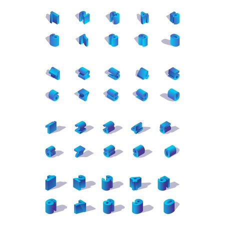 Illustration for Isolated on white background isometric numbers in various foreshortenings. Blue bold digits collection. - Royalty Free Image