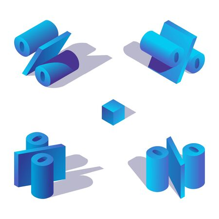 Illustration for Isometric 3d alphabet element. Percent character in blue colors drawn with shadows. - Royalty Free Image