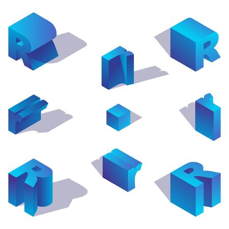 Illustration for Latin letter R isometric with shadow drawn with blue gradient. - Royalty Free Image