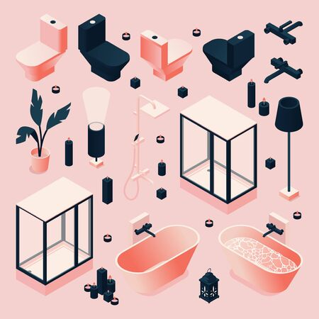 Illustration for Set drawn in pink and black for bathroom with furniture and sanitary, plumbing isometric in various foreshortening. Vector concept collection. - Royalty Free Image