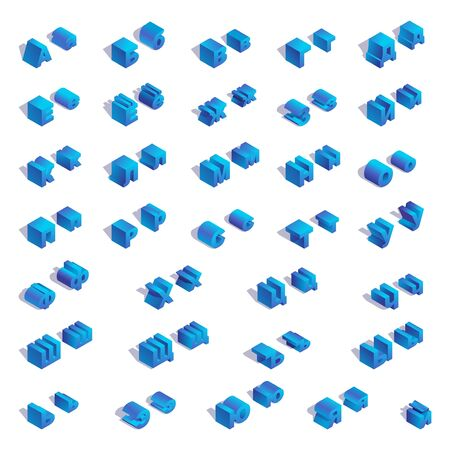 Illustration for Russian or cyrillic isometric square blue alphabet with shadows. - Royalty Free Image