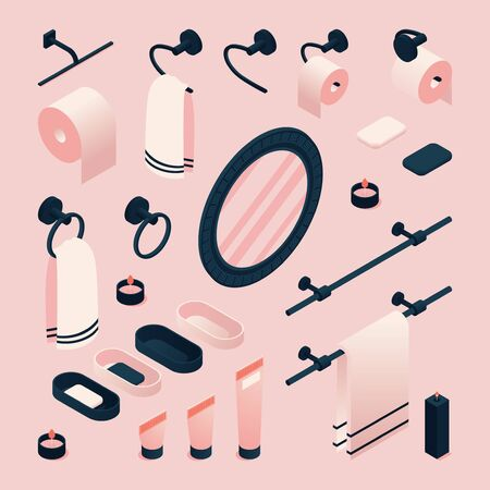 Illustration for Isometric 3d illustration with pink bathroom accessories as mirror, towel, toothbrush. - Royalty Free Image