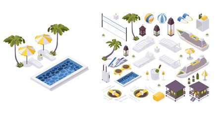 Illustration for Isometric 3d objects collection good for vacation trip and travelling. Sunbed, pool, palms and more. - Royalty Free Image