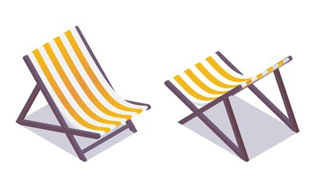 Illustration for Beach chair isometric in various foreshortening isolated on white. Yellow and white fabric stripes - Royalty Free Image