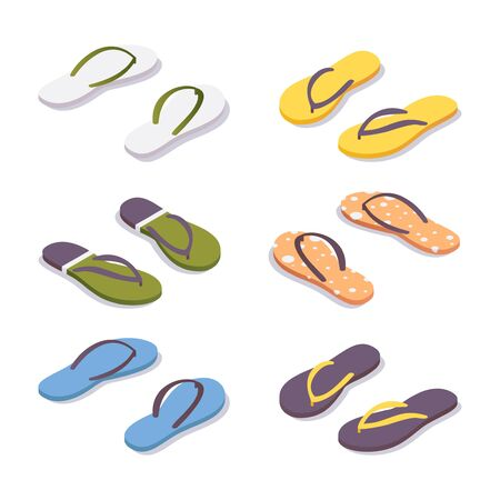 Illustration for Isometric set of flip flops in various colors. - Royalty Free Image