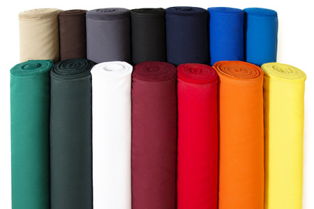 Photo pour Multiple Rolls of Colorful Fabric Isolated on White Background - image libre de droit