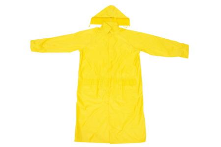 Foto de Yellow Waterproof Rain Coat, Isolated on White Background - Imagen libre de derechos