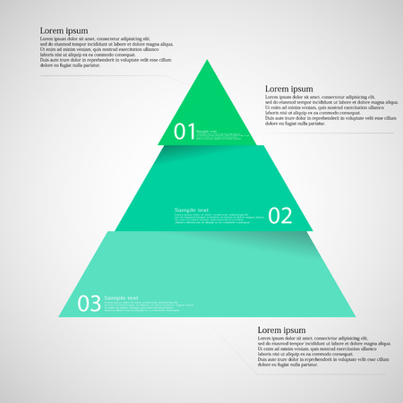 Illustration pour Illustration infographic with motif of green blue triangle dividedcut to three parts with small shadow. Each part contains unique number and space for own text or other purposes. - image libre de droit