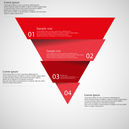 Illustration pour Illustration infographic with motif of red triangle divided cut to four parts with small shadow. Each part contains unique number and space for own text or other purposes. - image libre de droit