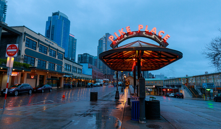 Photo for Seattle, Washington - April 9, 2018 : The Public Market Center also known worldwide as Pike Place Market, Seattle landmark - Royalty Free Image