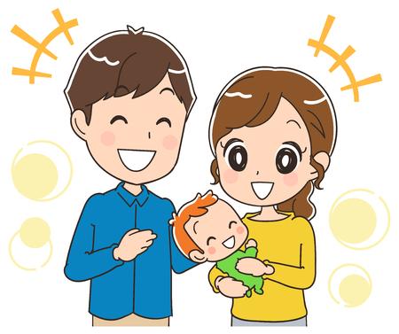 Illustration pour Parents with a happy baby. - image libre de droit
