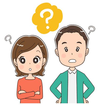 Illustration pour Middle-aged couple are asking questions, vector illustration. - image libre de droit