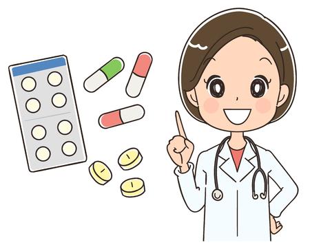 Ilustración de Female doctor is informing about medicine - Imagen libre de derechos