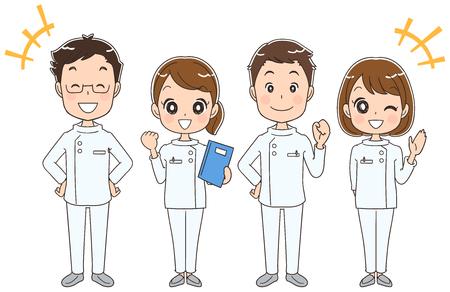 Ilustración de Reliable male and female medical team - Imagen libre de derechos