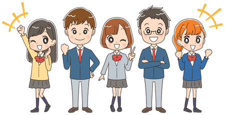Illustration pour A group of Japanese high school students are enjoying themselves. - image libre de droit