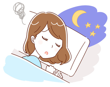 Illustrazione per A woman is having trouble with insomnia Vector illustration. - Immagini Royalty Free