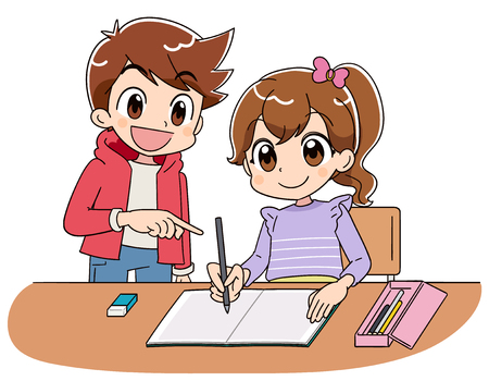 Illustrazione per A girl is studying on a notebook. With a boy. - Immagini Royalty Free