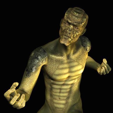 3D rendering of a reptile man