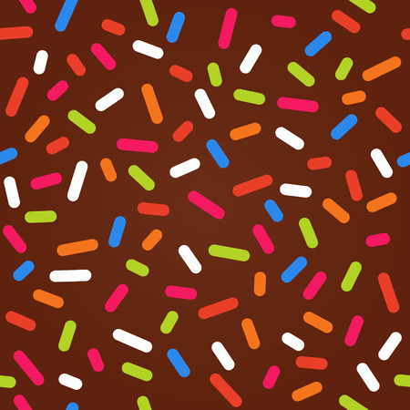Illustration pour Seamless background with chocolate donut glaze and many decorative bright sprinkles - image libre de droit