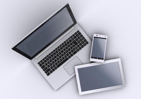 Photo pour Laptop, mobile phone and tablet pc. 3d - image libre de droit