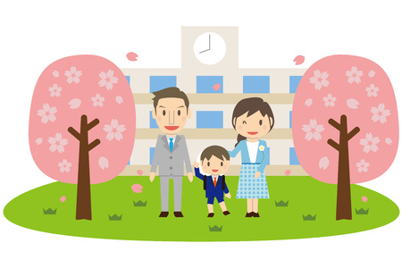 Cute family son's elementary school entrance ceremony and cherry blossoms