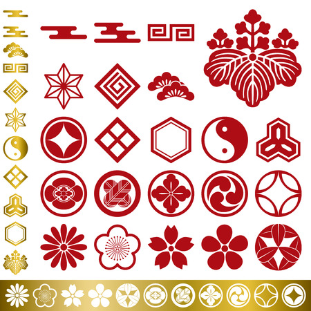 Japanese traditional elements set