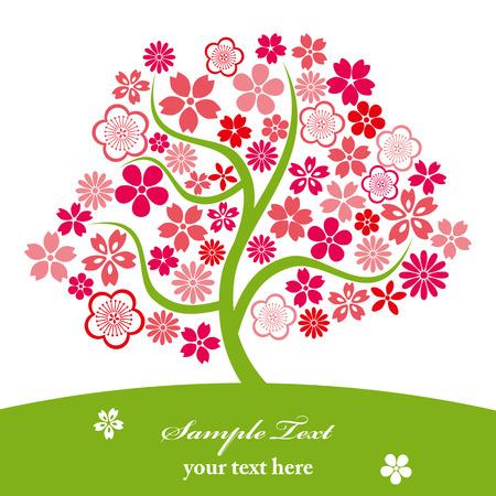 Cherry blossoms. Illustration vector.