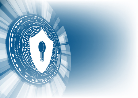 Illustration pour Cyber security concept: Shield with keyhole icon on digital data background. Illustrates cyber data security or information privacy idea. Blue abstract hi speed internet technology. - image libre de droit