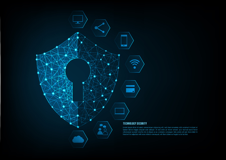 Illustration pour Internet security online concept: Padlock With Keyhole icon in . personal data security Illustrates cyber data security or information privacy idea. Blue abstract hi speed internet technology. - image libre de droit