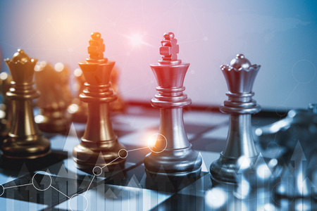 Photo pour Chess board game concept of business ideas and competition and stratagy plan success meaning, Stock financial statistic graph analysis data concept. - image libre de droit