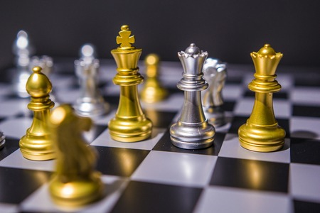 Photo pour Chess board game concept of business ideas and competition and strategy plan success meaning, Stock financial statistic graph analysis data concept. - image libre de droit