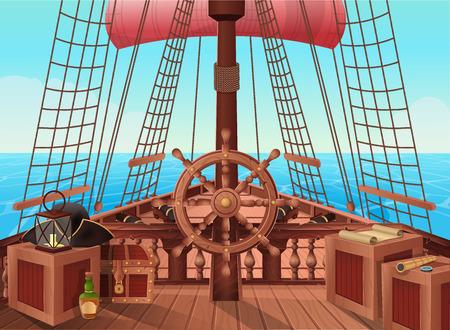 Illustration pour SHIP OF PIRATES. Illustration of sail boat bridge view. - image libre de droit