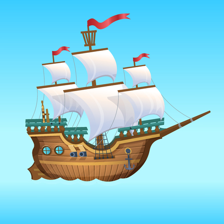Ilustración de Cartoon Vector Illustration. Pirate Ship, sailing ship. - Imagen libre de derechos