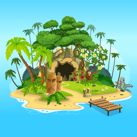 Illustration for Cartoon tropical island with a cave and totems. Vector illustration for games. - Royalty Free Image