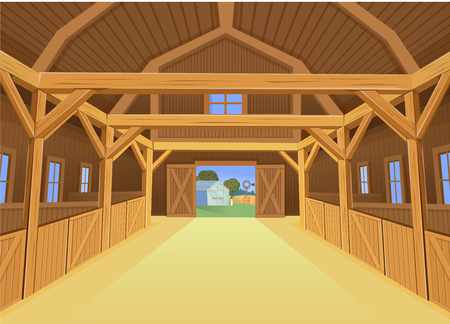 Ilustración de A barn for farm animals, view inside. Vector illustration in cartoon style - Imagen libre de derechos