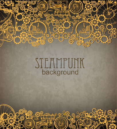 Illustration pour Steampunk style. Template steampunk design for card. Frame steampunk background. - image libre de droit