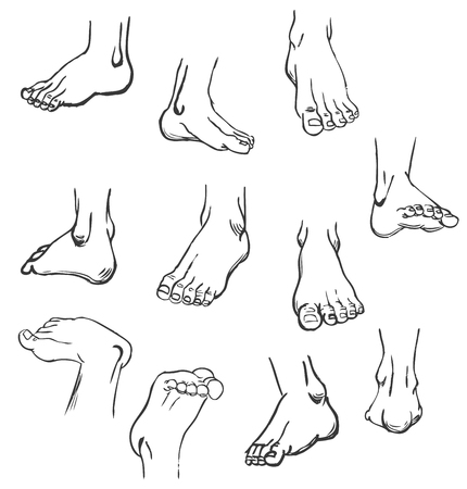 Illustration for Foot stops in foreshortenings - Royalty Free Image