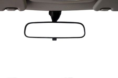 Foto de Car Rear view mirror isolated for creative landscape montage - Imagen libre de derechos