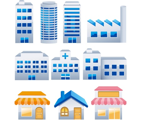 Foto de Illustration - Building icons set. Architectures image  vector - Imagen libre de derechos