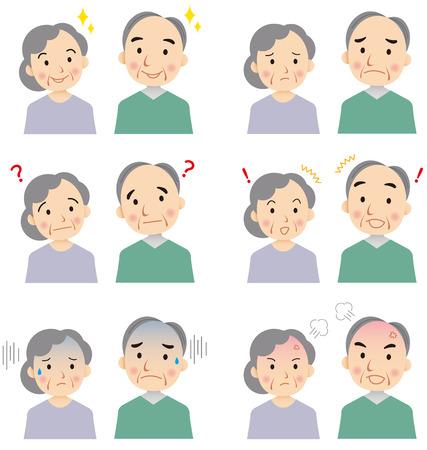 Illustration pour senior faces Vector - image libre de droit