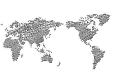 Ilustración de World map sketch Vector - Imagen libre de derechos