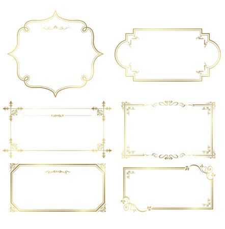 Ilustración de gold frame set Vector - Imagen libre de derechos