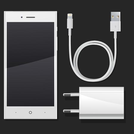 Ilustración de phone with charging lying on a table on a black background - Imagen libre de derechos